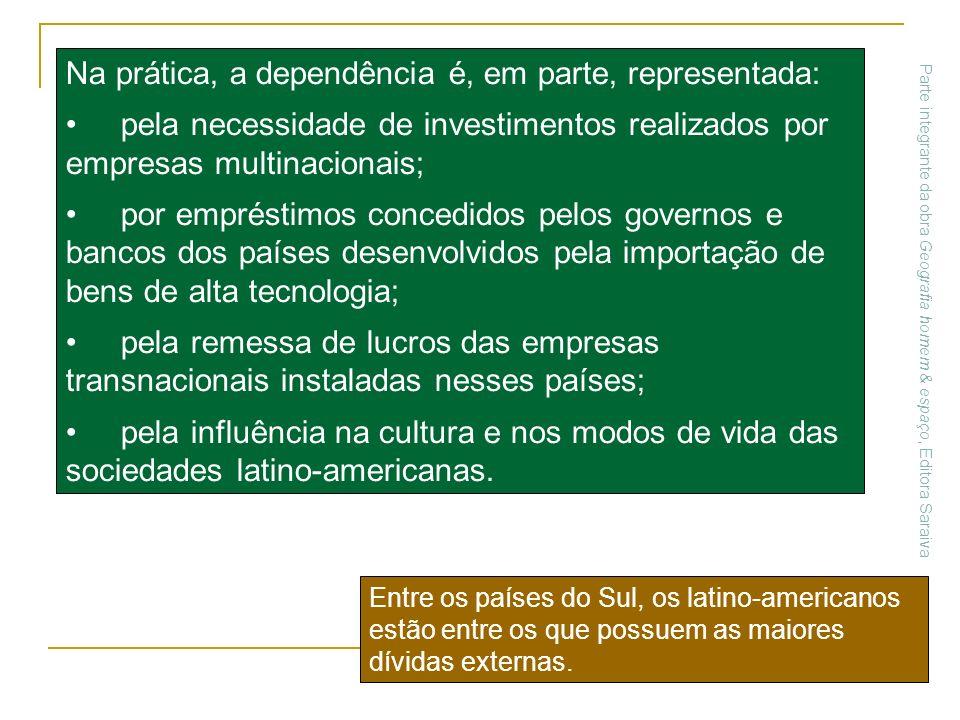 Na prática, a dependência é, em parte, representada: pela necessidade de investimentos realizados por empresas multinacionais; por empréstimos concedi