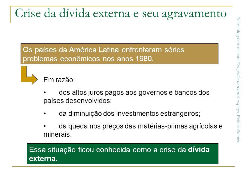 Crise da dívida externa e seu agravamento Essa situação ficou conhecida como a crise da dívida externa. Os países da América Latina enfrentaram sérios
