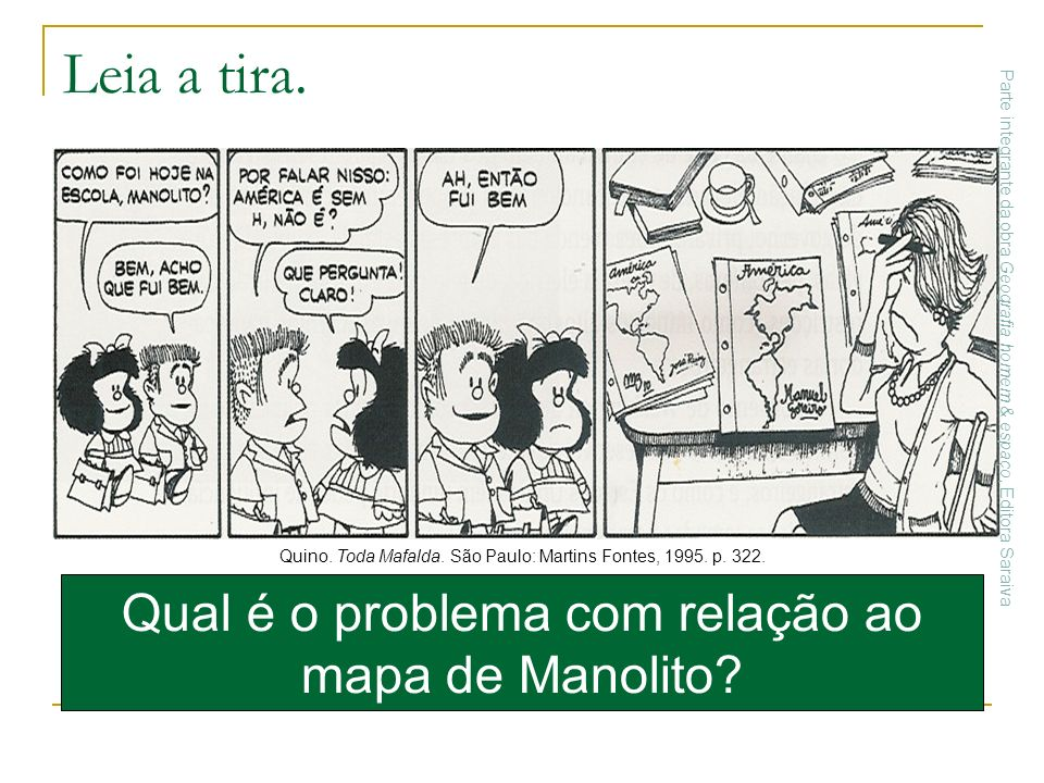 Qual é o problema com relação ao mapa de Manolito? Quino. Toda Mafalda. São Paulo: Martins Fontes, 1995. p. 322. Leia a tira. Parte integrante da obra