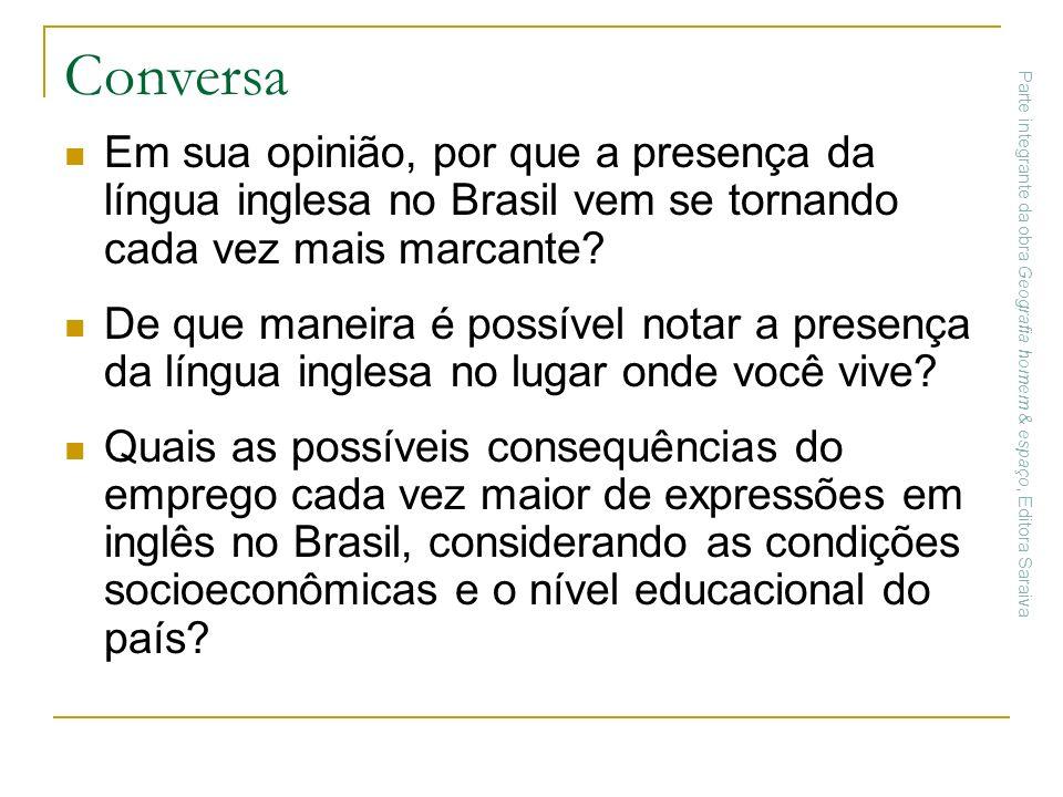 Conversa Em sua opinião, por que a presença da língua inglesa no Brasil vem se tornando cada vez mais marcante? De que maneira é possível notar a pres