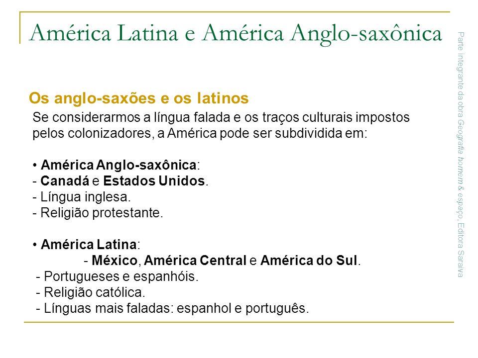 América Latina e América Anglo-saxônica Os anglo-saxões e os latinos Se considerarmos a língua falada e os traços culturais impostos pelos colonizador