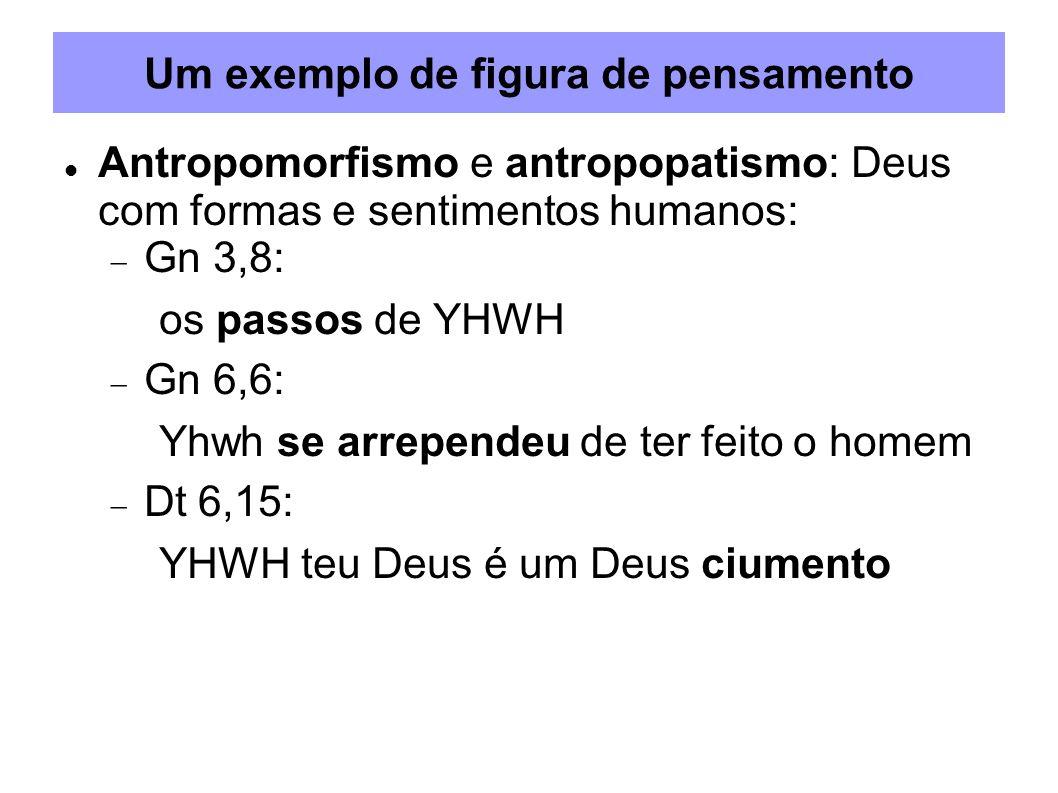 Um exemplo de figura de pensamento Antropomorfismo e antropopatismo: Deus com formas e sentimentos humanos: Gn 3,8: os passos de YHWH Gn 6,6: Yhwh se