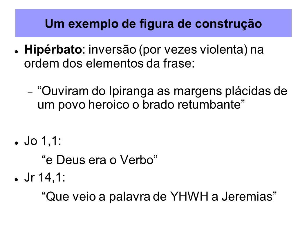 Um exemplo de figura de construção Hipérbato: inversão (por vezes violenta) na ordem dos elementos da frase: Ouviram do Ipiranga as margens plácidas d