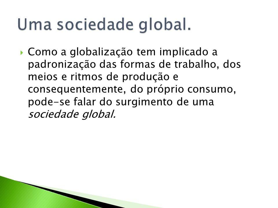 Como a globalização tem implicado a padronização das formas de trabalho, dos meios e ritmos de produção e consequentemente, do próprio consumo, pode-s