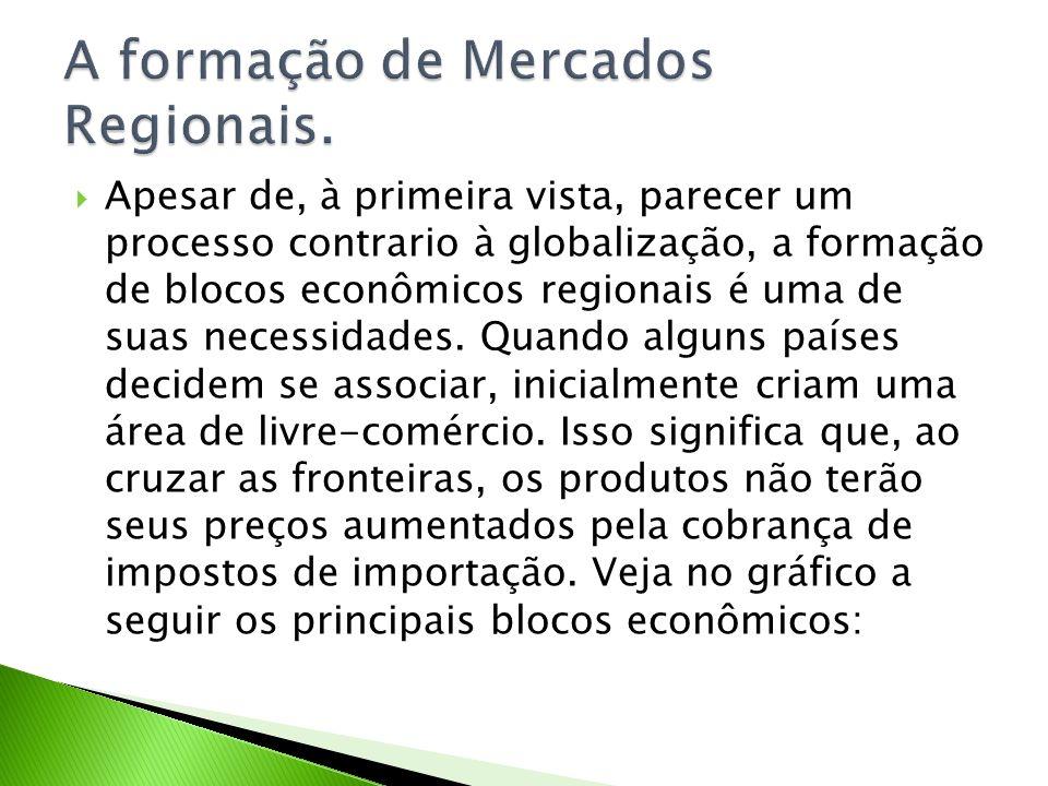 Apesar de, à primeira vista, parecer um processo contrario à globalização, a formação de blocos econômicos regionais é uma de suas necessidades. Quand