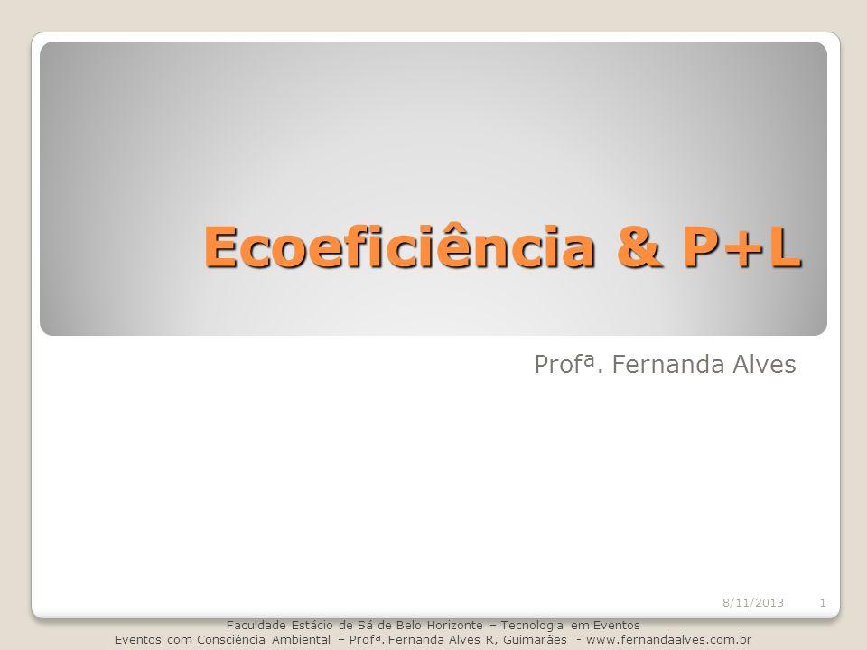 Ecoeficiência & P+L Profª. Fernanda Alves 8/11/2013 Faculdade Estácio de Sá de Belo Horizonte – Tecnologia em Eventos Eventos com Consciência Ambienta