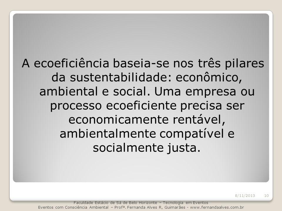 A ecoeficiência baseia-se nos três pilares da sustentabilidade: econômico, ambiental e social. Uma empresa ou processo ecoeficiente precisa ser econom