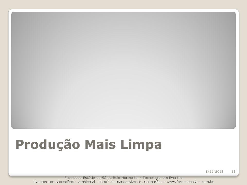 Produção Mais Limpa 8/11/2013 Faculdade Estácio de Sá de Belo Horizonte – Tecnologia em Eventos Eventos com Consciência Ambiental – Profª. Fernanda Al