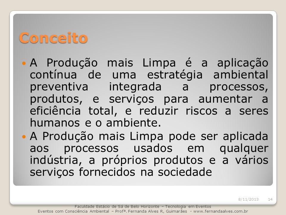 Conceito A Produção mais Limpa é a aplicação contínua de uma estratégia ambiental preventiva integrada a processos, produtos, e serviços para aumentar