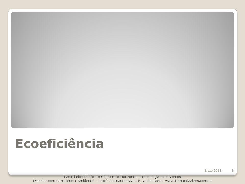 Ecoeficiência 8/11/2013 Faculdade Estácio de Sá de Belo Horizonte – Tecnologia em Eventos Eventos com Consciência Ambiental – Profª. Fernanda Alves R,