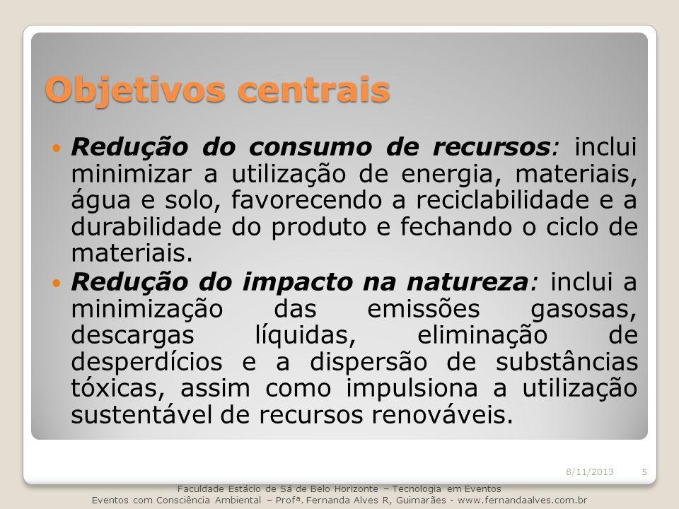 Objetivos centrais Redução do consumo de recursos: inclui minimizar a utilização de energia, materiais, água e solo, favorecendo a reciclabilidade e a