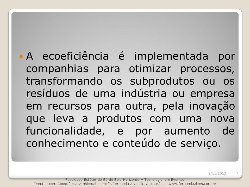 A ecoeficiência é implementada por companhias para otimizar processos, transformando os subprodutos ou os resíduos de uma indústria ou empresa em recu