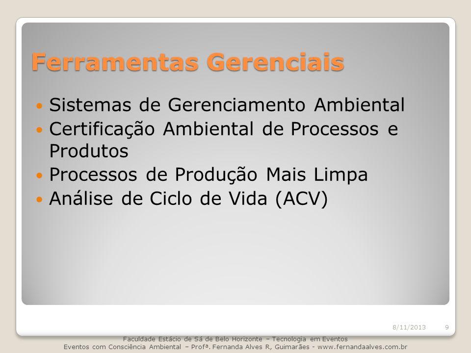 Ferramentas Gerenciais Sistemas de Gerenciamento Ambiental Certificação Ambiental de Processos e Produtos Processos de Produção Mais Limpa Análise de