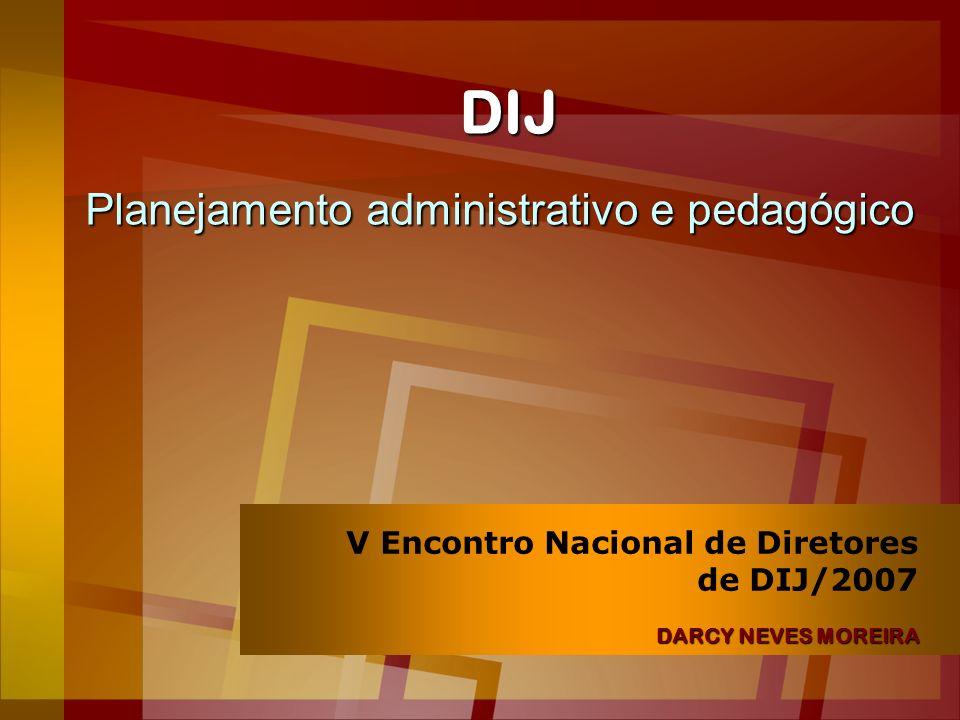 DIJ Planejamento administrativo e pedagógico DARCY NEVES MOREIRA V Encontro Nacional de Diretores de DIJ/2007