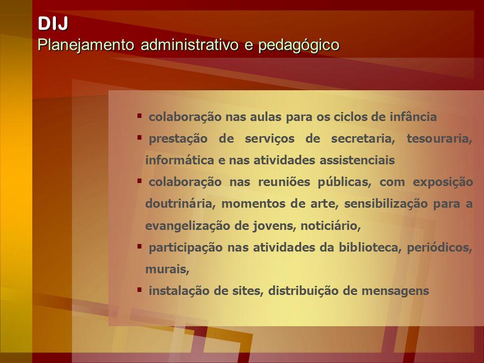 DIJ Planejamento administrativo e pedagógico colaboração nas aulas para os ciclos de infância prestação de serviços de secretaria, tesouraria, informá