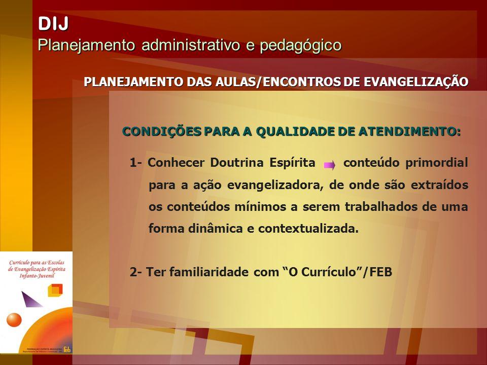 DIJ Planejamento administrativo e pedagógico PLANEJAMENTO DAS AULAS/ENCONTROS DE EVANGELIZAÇÃO 1- Conhecer Doutrina Espírita conteúdo primordial para