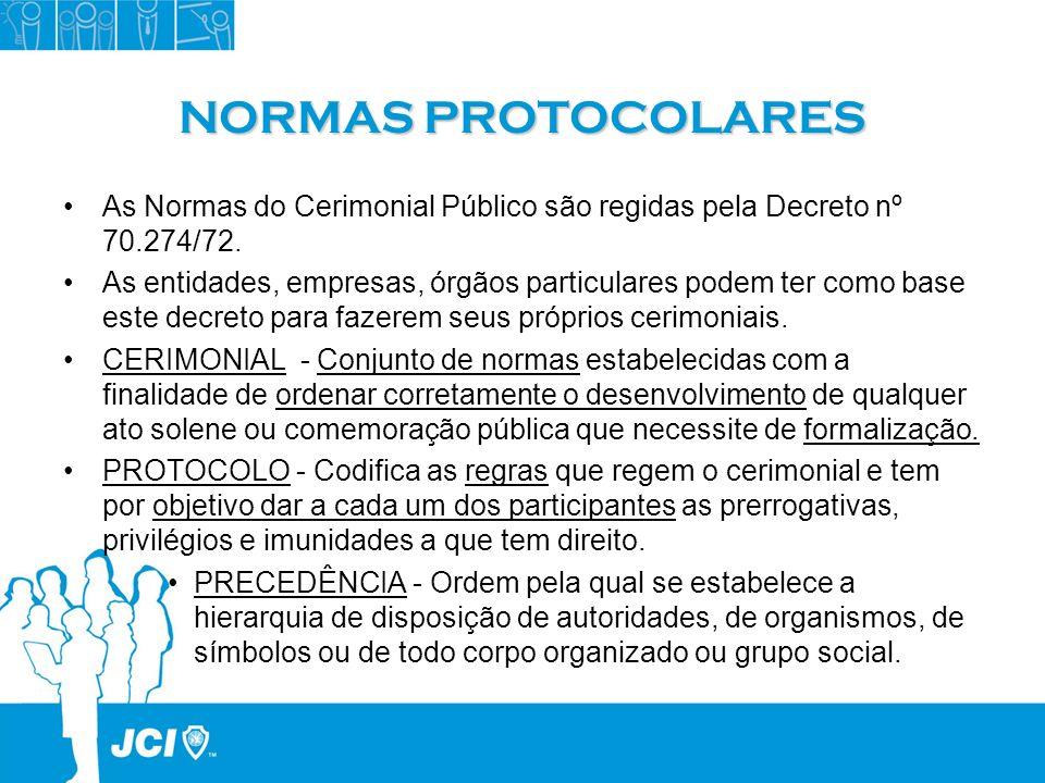 NORMAS PROTOCOLARES As Normas do Cerimonial Público são regidas pela Decreto nº 70.274/72. As entidades, empresas, órgãos particulares podem ter como