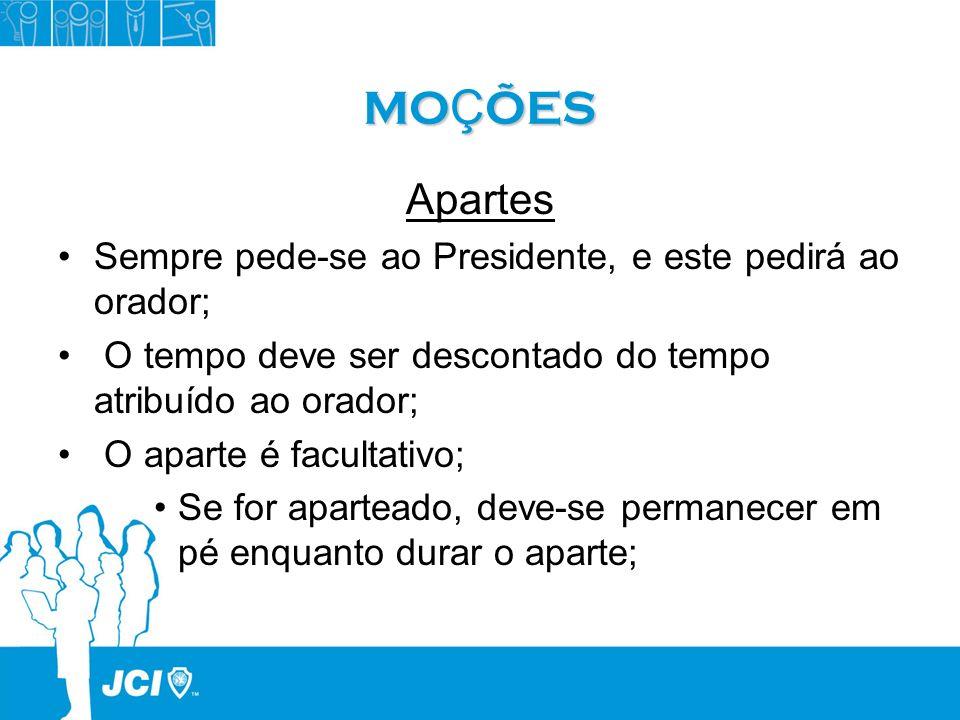 MO Ç ÕES Apartes Sempre pede-se ao Presidente, e este pedirá ao orador; O tempo deve ser descontado do tempo atribuído ao orador; O aparte é facultati