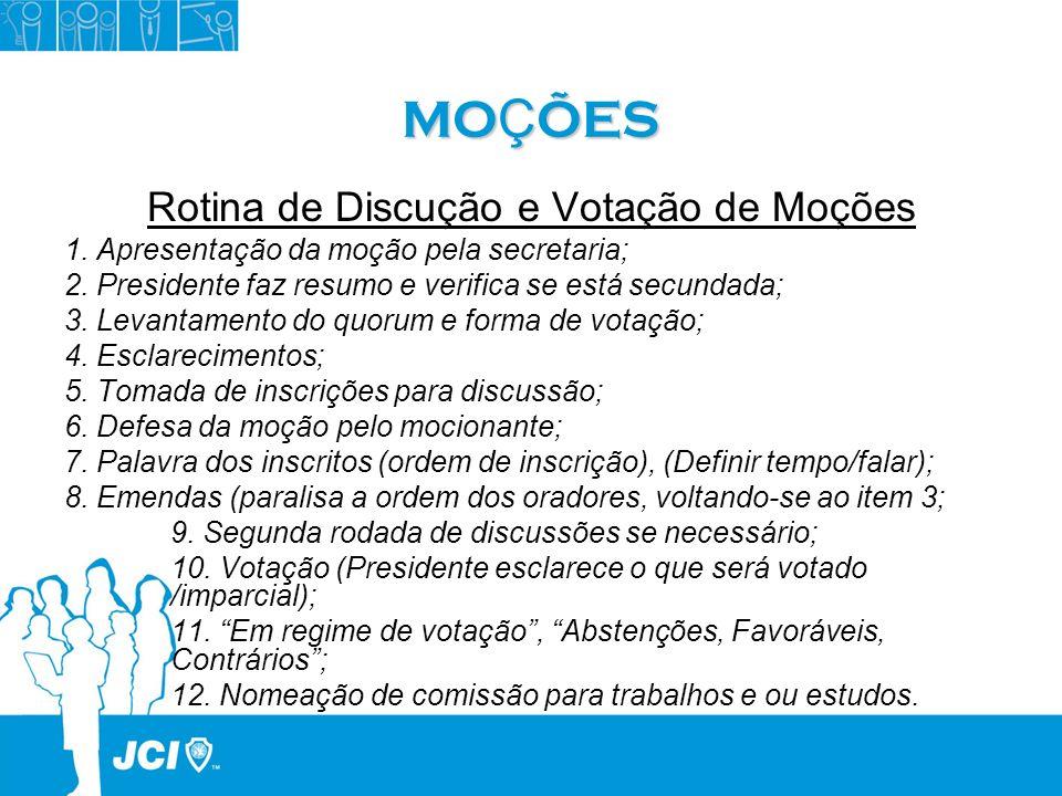 MO Ç ÕES Rotina de Discução e Votação de Moções 1. Apresentação da moção pela secretaria; 2. Presidente faz resumo e verifica se está secundada; 3. Le