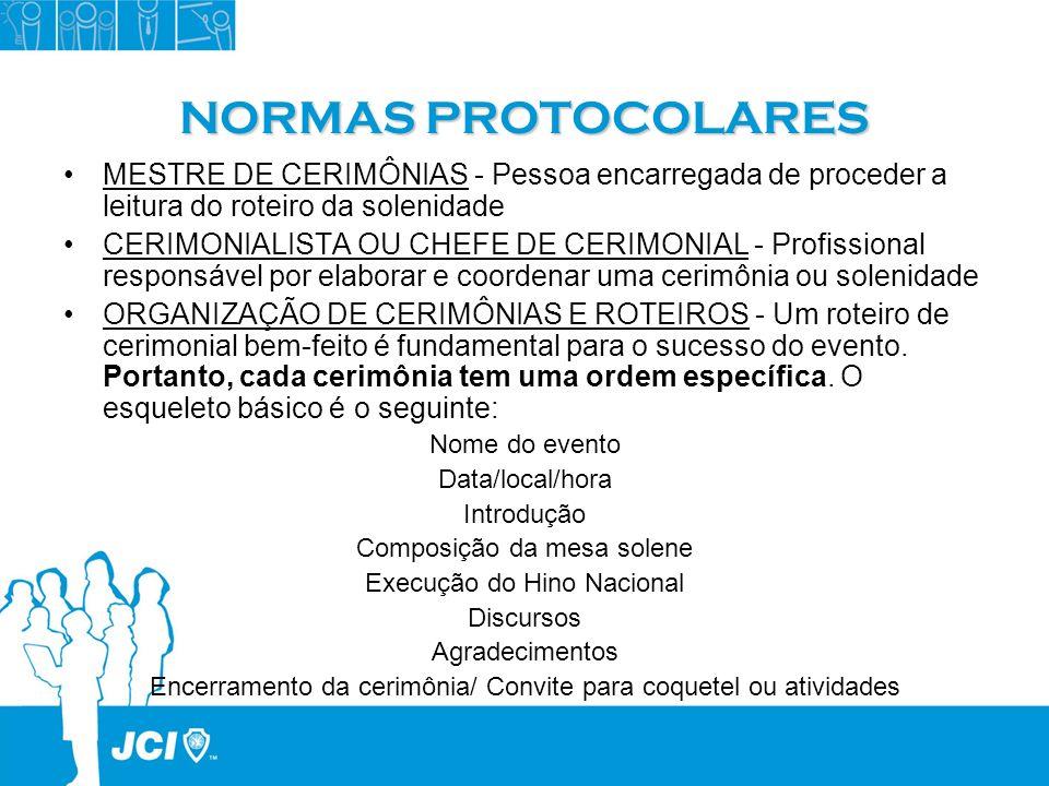NORMAS PROTOCOLARES MESTRE DE CERIMÔNIAS - Pessoa encarregada de proceder a leitura do roteiro da solenidade CERIMONIALISTA OU CHEFE DE CERIMONIAL - P