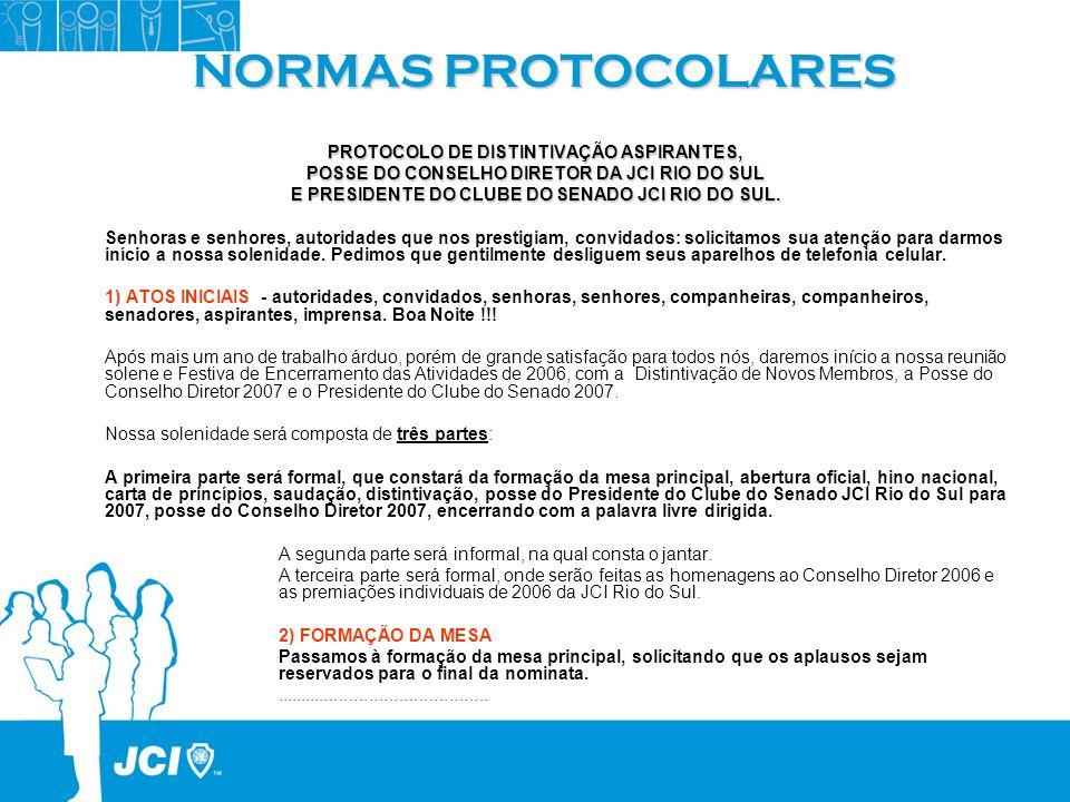 NORMAS PROTOCOLARES PROTOCOLO DE DISTINTIVAÇÃO ASPIRANTES, POSSE DO CONSELHO DIRETOR DA JCI RIO DO SUL E PRESIDENTE DO CLUBE DO SENADO JCI RIO DO SUL.
