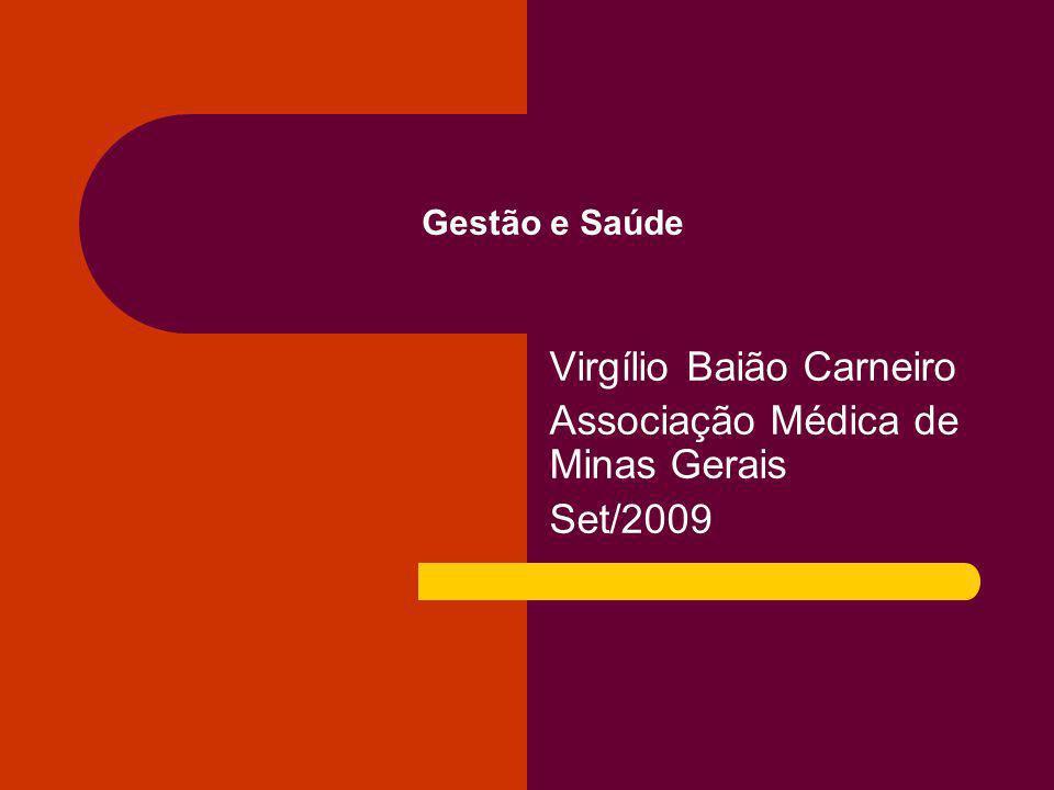 Gestão e Saúde Virgílio Baião Carneiro Associação Médica de Minas Gerais Set/2009