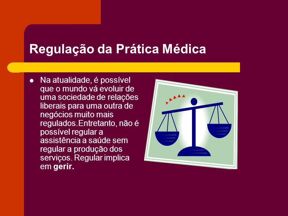 Regulação da Prática Médica Na atualidade, é possível que o mundo vá evoluir de uma sociedade de relações liberais para uma outra de negócios muito ma
