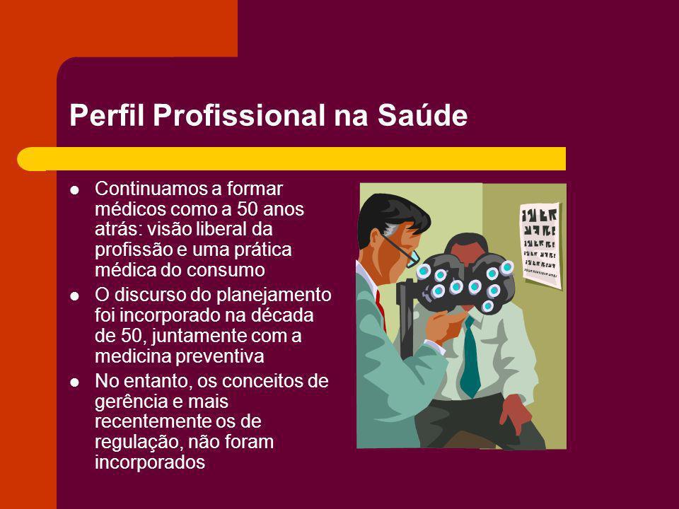 Perfil Profissional na Saúde Continuamos a formar médicos como a 50 anos atrás: visão liberal da profissão e uma prática médica do consumo O discurso