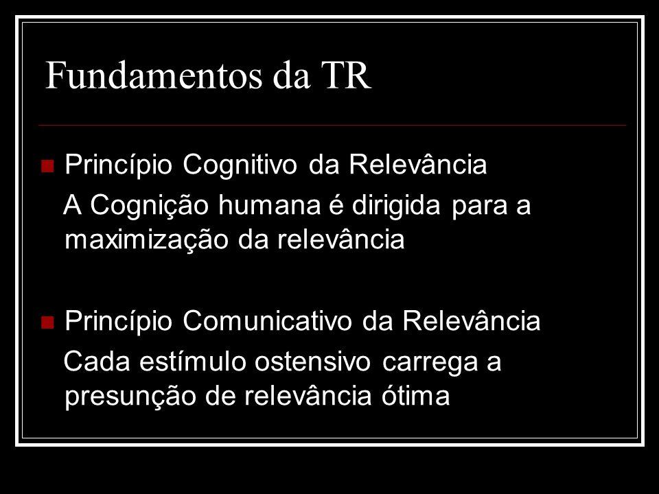 Fundamentos da TR Princípio Cognitivo da Relevância A Cognição humana é dirigida para a maximização da relevância Princípio Comunicativo da Relevância