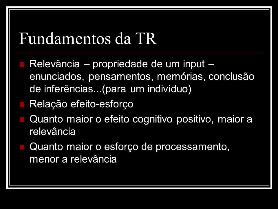 Fundamentos da TR Relevância – propriedade de um input – enunciados, pensamentos, memórias, conclusão de inferências...(para um indivíduo) Relação efe