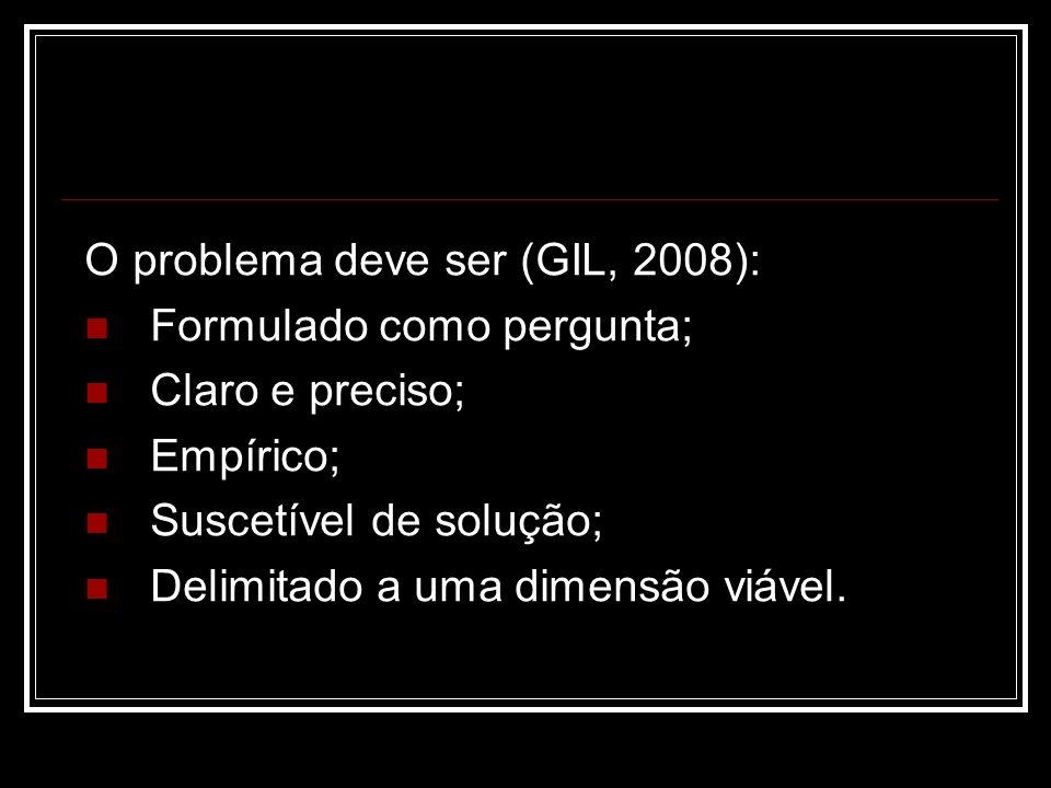 O problema deve ser (GIL, 2008): Formulado como pergunta; Claro e preciso; Empírico; Suscetível de solução; Delimitado a uma dimensão viável.