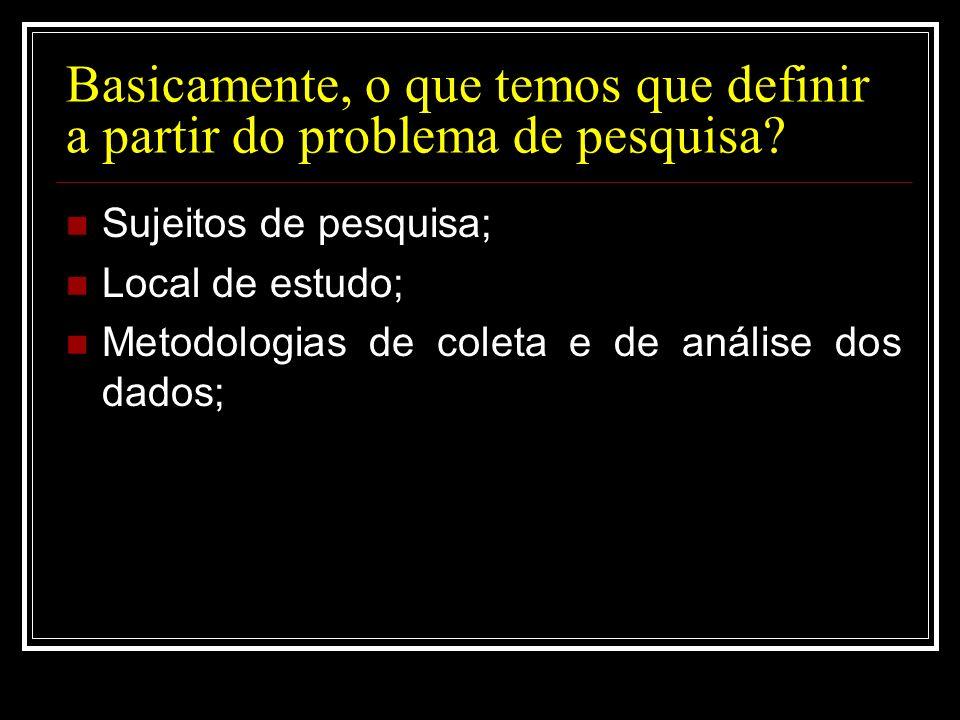 Basicamente, o que temos que definir a partir do problema de pesquisa? Sujeitos de pesquisa; Local de estudo; Metodologias de coleta e de análise dos