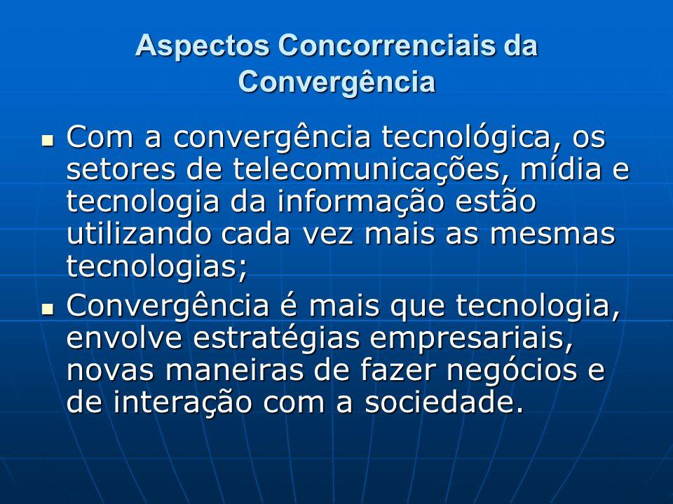 Aspectos Concorrenciais da Convergência Com a convergência tecnológica, os setores de telecomunicações, mídia e tecnologia da informação estão utiliza