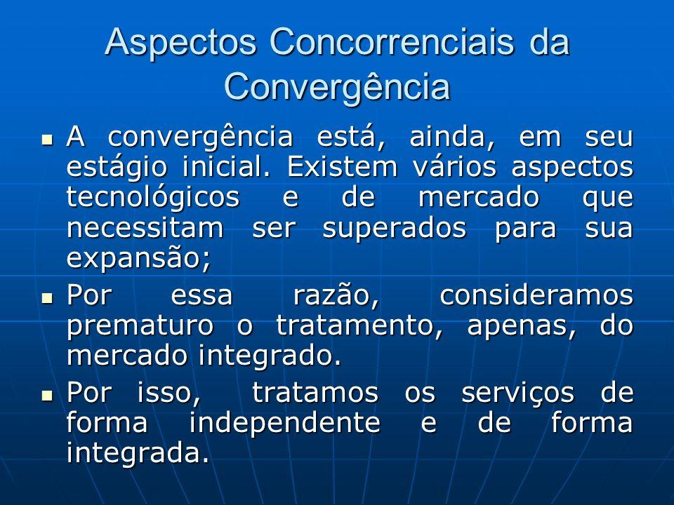 Aspectos Concorrenciais da Convergência A convergência está, ainda, em seu estágio inicial. Existem vários aspectos tecnológicos e de mercado que nece