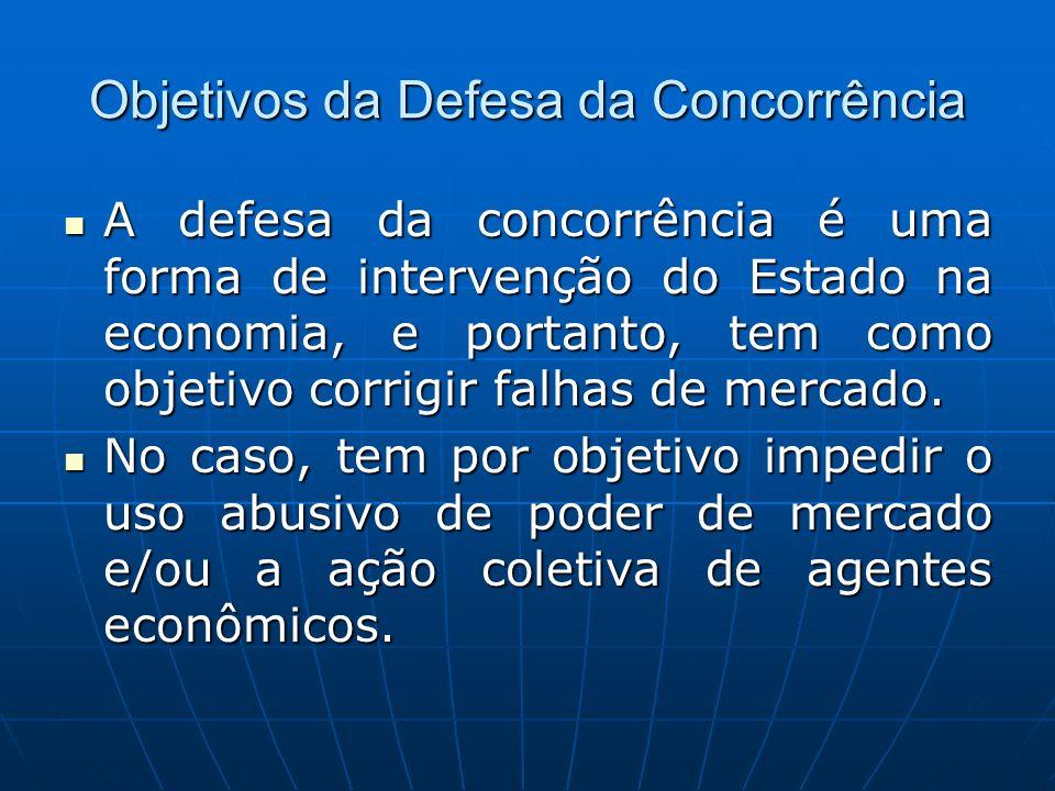 Objetivos da Defesa da Concorrência A defesa da concorrência é uma forma de intervenção do Estado na economia, e portanto, tem como objetivo corrigir