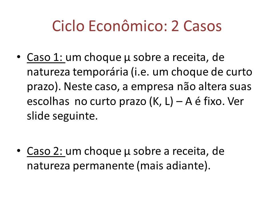 Ciclo Econômico: 2 Casos Caso 1: um choque μ sobre a receita, de natureza temporária (i.e. um choque de curto prazo). Neste caso, a empresa não altera