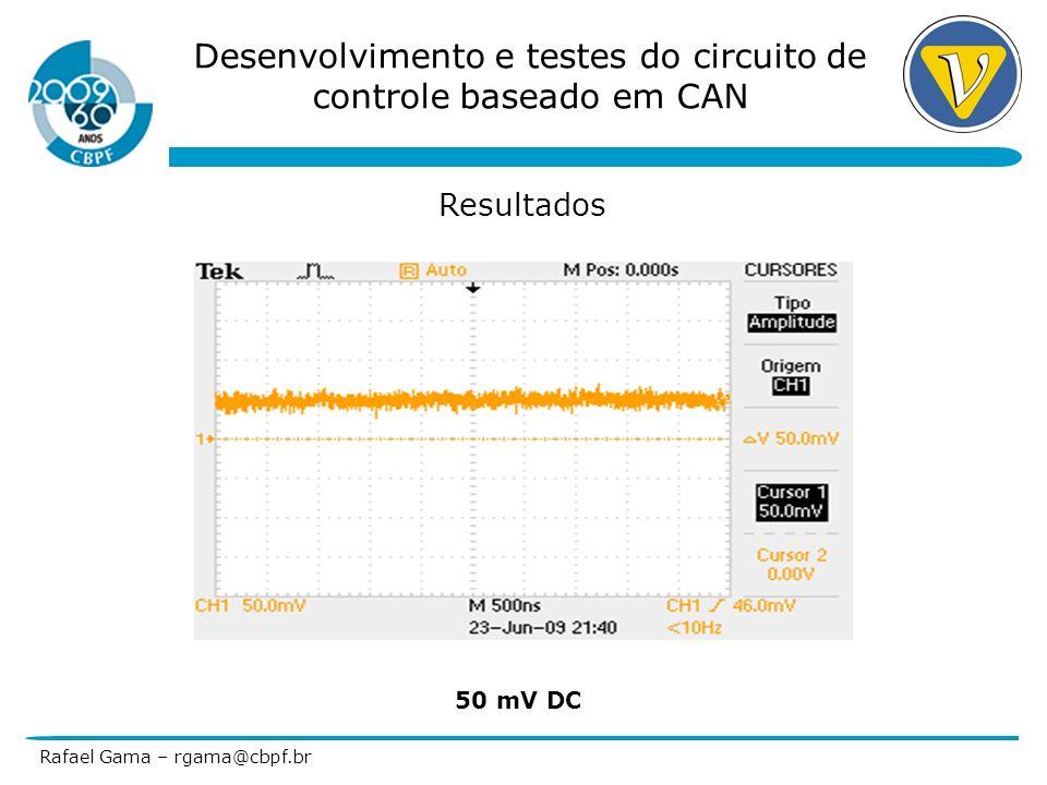 Desenvolvimento e testes do circuito de controle baseado em CAN Rafael Gama – rgama@cbpf.br Resultados 4096 valores por canal(8) – 32768 valores/s 20