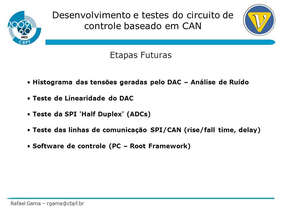 Desenvolvimento e testes do circuito de controle baseado em CAN Rafael Gama – rgama@cbpf.br Etapas Futuras Histograma das tensões geradas pelo DAC – A