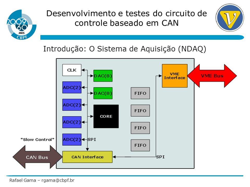 Desenvolvimento e testes do circuito de controle baseado em CAN Rafael Gama – rgama@cbpf.br Referências 1.PIC18F2680 Datasheet, DS39625C, Disponível em www.microchip.com 2.MCP2151 Datasheet, DS21667, Disponível em www.microhcip.com 3.Controller Area Network (CAN) Basics, AN713, DS00713, Disponível em www.microchip.com 4.Interfacing High Speed ADCs via SPI User Manual, AN877, Disponível em www.analog.com 5.Debugging Serial Buses in Embedded System Designs, 48W-19040-4 (WebID: 12641), Disponível em www.tek.com 6.CAN Specification 2.0B, Disponível em www.semiconductors.bosch.de 7.Kvaser Leaf User Guide, Last Updated: Monday, 13 November 2006, Disponível em www.kvaser.com www.kvaser.com 8.AD5328 Datasheet, Rev D., Disponível em www.analog.com