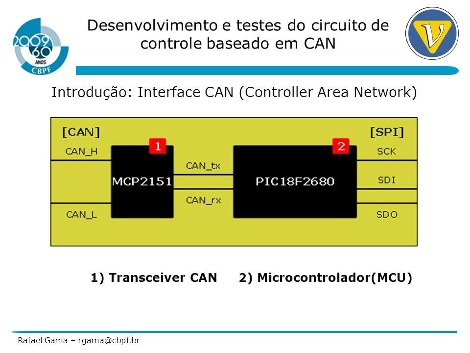 Desenvolvimento e testes do circuito de controle baseado em CAN Rafael Gama – rgama@cbpf.br Introdução: Etapa 1) Teste de Comunicação CAN 1)Transceiver CAN 2)Microcontrolador(MCU) 3) Transceiver RS232 (Com/Firmware/Debug)