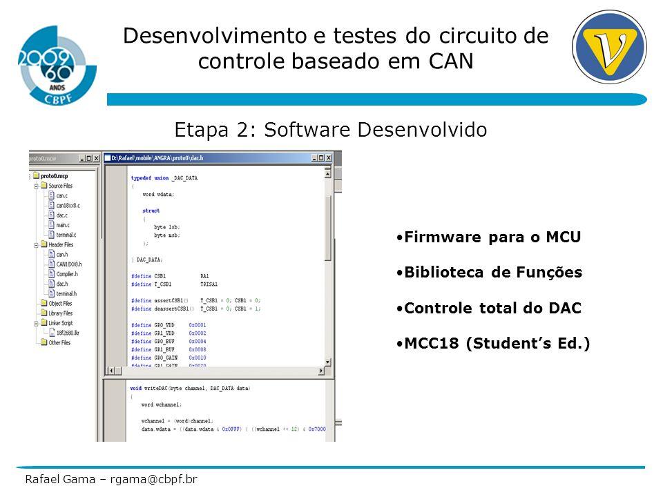 Desenvolvimento e testes do circuito de controle baseado em CAN Rafael Gama – rgama@cbpf.br Etapa 2: Software Desenvolvido Firmware para o MCU Bibliot