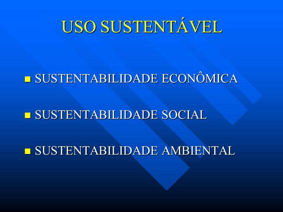 USO SUSTENTÁVEL SUSTENTABILIDADE ECONÔMICA SUSTENTABILIDADE ECONÔMICA SUSTENTABILIDADE SOCIAL SUSTENTABILIDADE SOCIAL SUSTENTABILIDADE AMBIENTAL SUSTE
