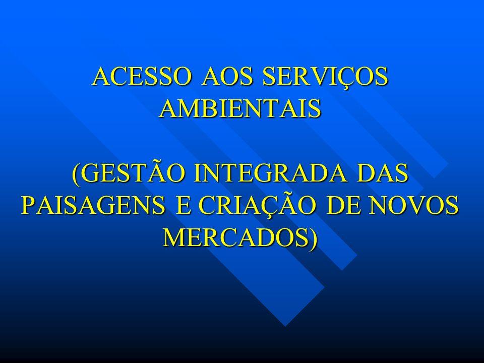 ACESSO AOS SERVIÇOS AMBIENTAIS (GESTÃO INTEGRADA DAS PAISAGENS E CRIAÇÃO DE NOVOS MERCADOS)