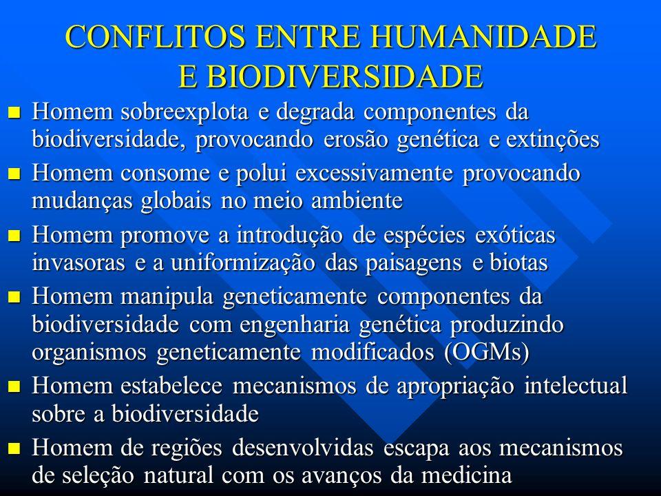 CONFLITOS ENTRE HUMANIDADE E BIODIVERSIDADE Homem sobreexplota e degrada componentes da biodiversidade, provocando erosão genética e extinções Homem s