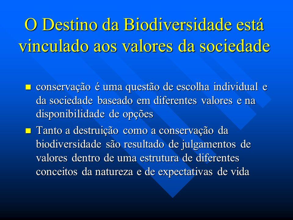 O Destino da Biodiversidade está vinculado aos valores da sociedade conservação é uma questão de escolha individual e da sociedade baseado em diferent