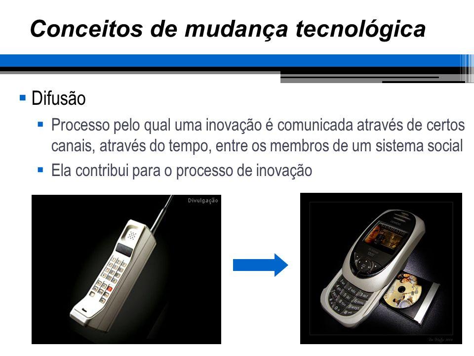Conceitos de mudança tecnológica Difusão Processo pelo qual uma inovação é comunicada através de certos canais, através do tempo, entre os membros de