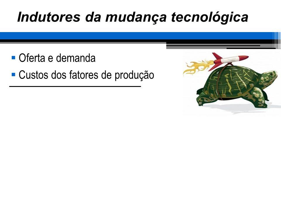 Indutores da mudança tecnológica Oferta e demanda Custos dos fatores de produção
