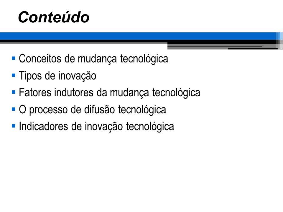 Conteúdo Conceitos de mudança tecnológica Tipos de inovação Fatores indutores da mudança tecnológica O processo de difusão tecnológica Indicadores de