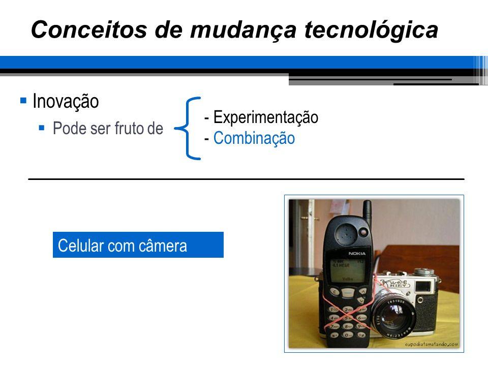 Conceitos de mudança tecnológica Inovação Pode ser fruto de - Experimentação - Combinação Celular com câmera