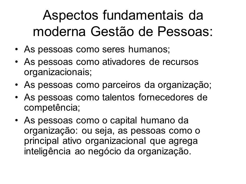 Aspectos fundamentais da moderna Gestão de Pessoas: As pessoas como seres humanos; As pessoas como ativadores de recursos organizacionais; As pessoas